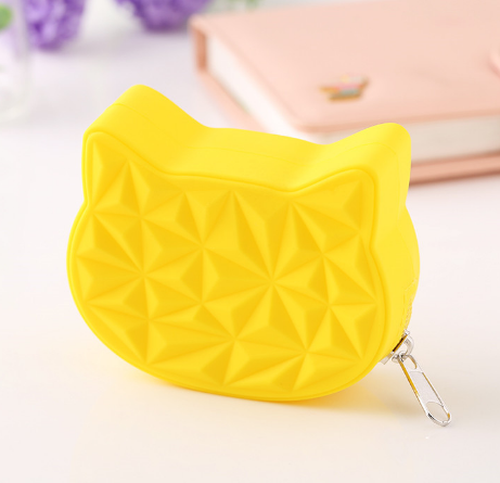 Cat Shaped Silicone Coin&Key Purse
