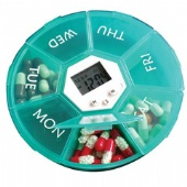 Weekly timer/reminder/luminescence medical pill box